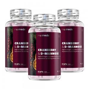 maxmedix Tranbärskapslar & D-mannose - 3 Pack - Mot återkommande problem med urinvägarna - För dem som drabbas av UVI - 3x60 Kapslar
